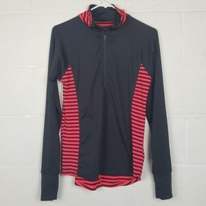 Hannah Long Sleeve Black/Pink Striped Workout Top